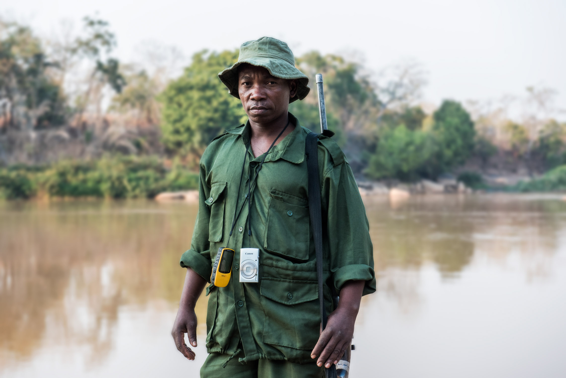 A Village Game Scout on monitoring patrol at Ruvuma river, on the border to neighboring Mozambique.