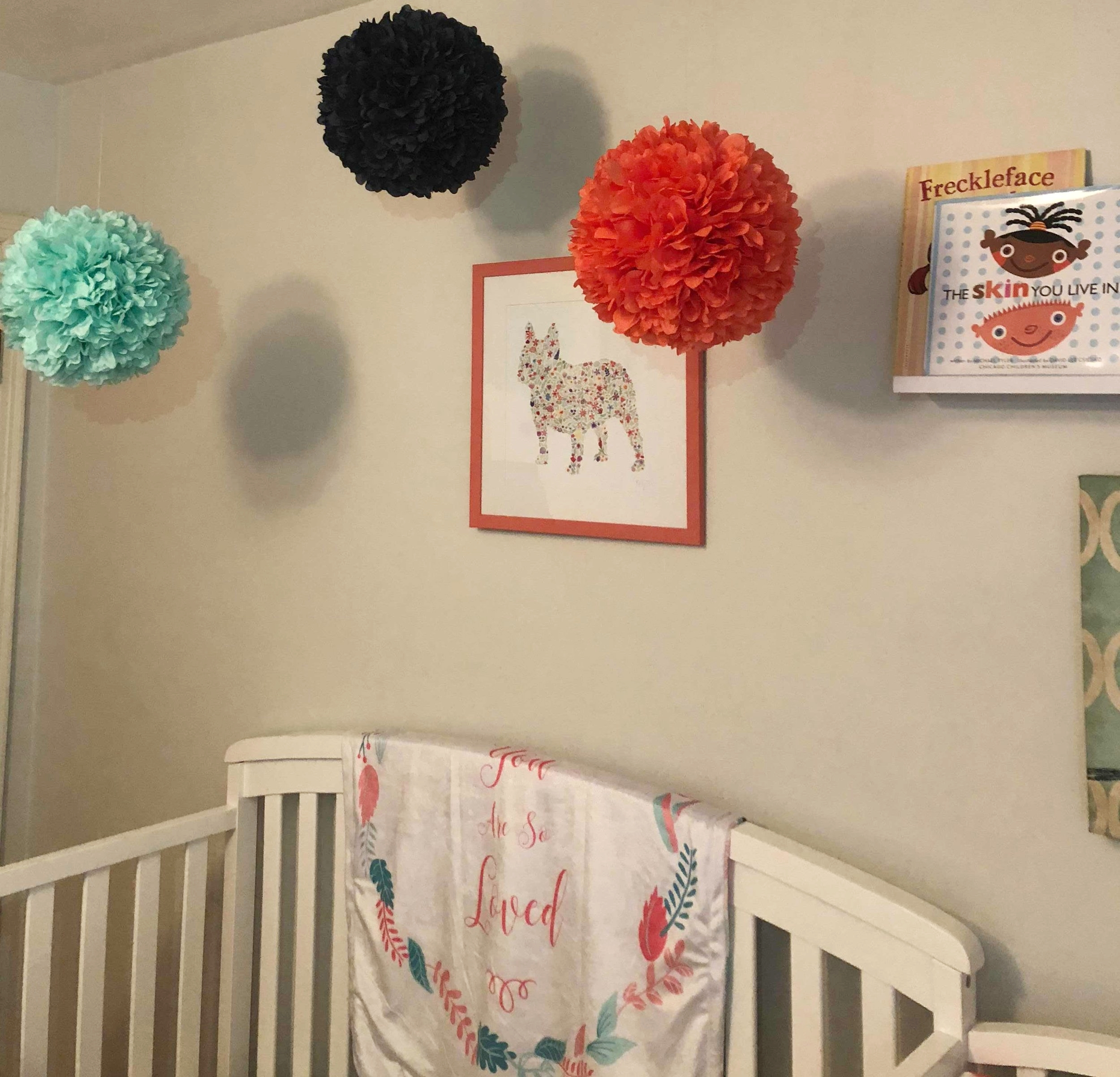 Simple, Sweet Decor - 1. Hanging Paper Balls: Amazon2. Pug picture