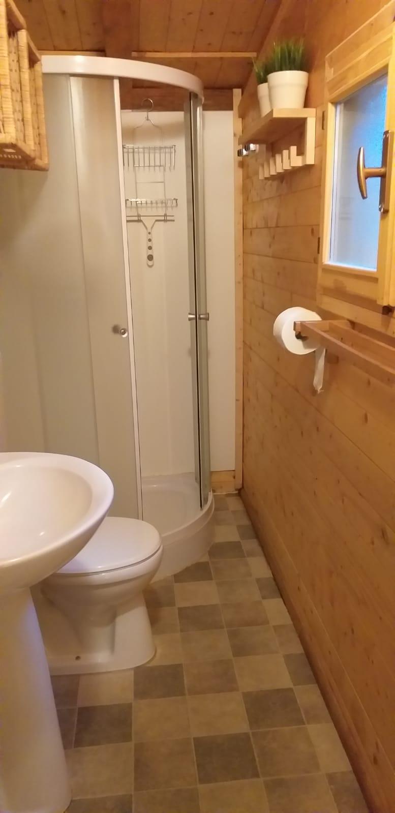 Badkamer - Voorzien van douche, toilet en wastafel met spiegel