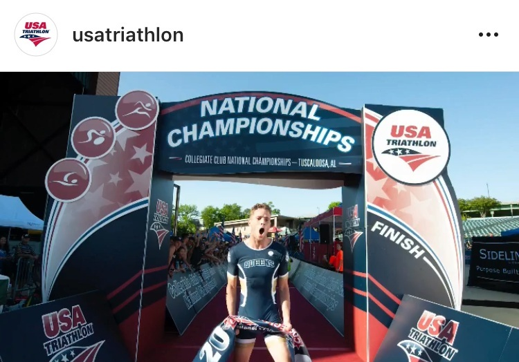 Jack Felix, Queens University, breaking the tape in the 2018 USAT Collegiate Club Nationals Mixed Team Relay (Photo: USA Triathlon Instagram)