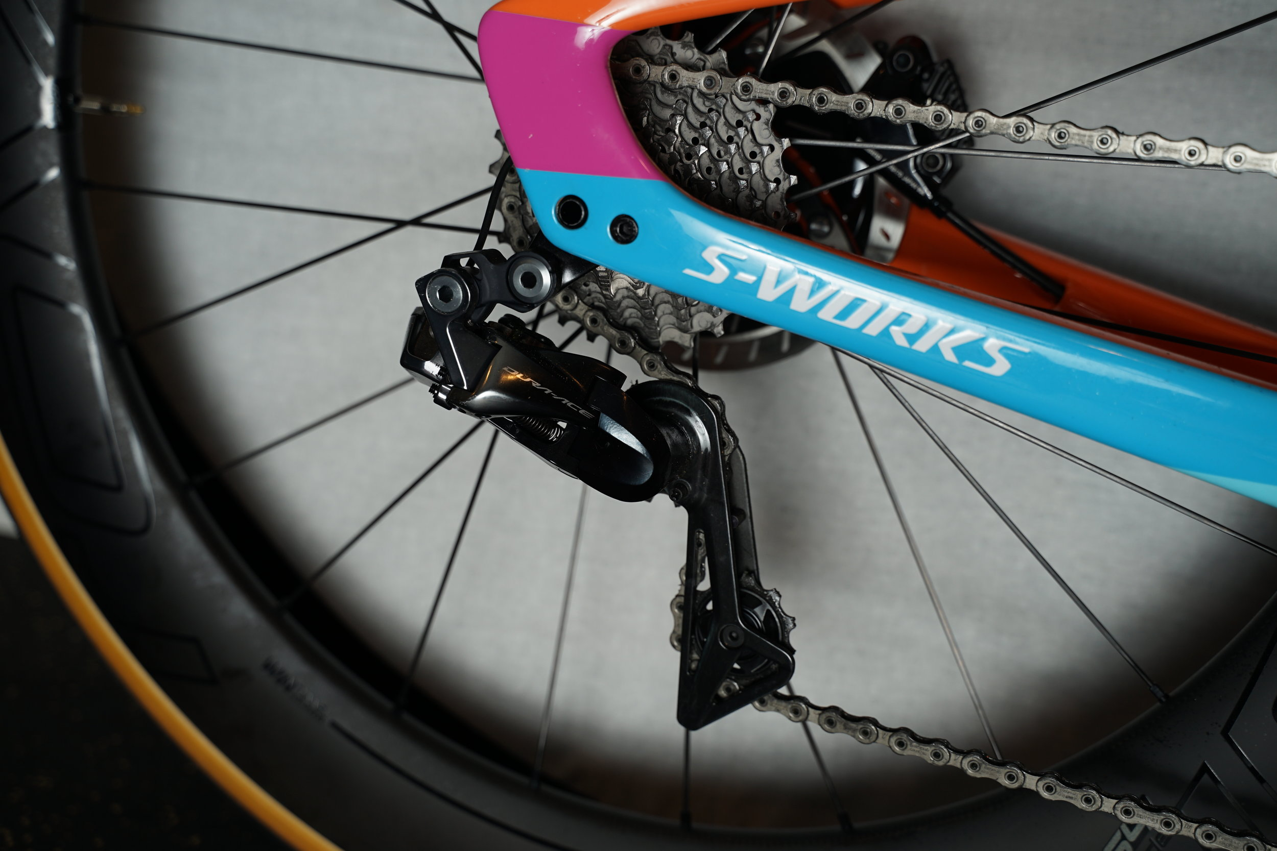 "Dura-ace Di2 rear derailleur and ""S-Works"" emblazoned on the chain stay."