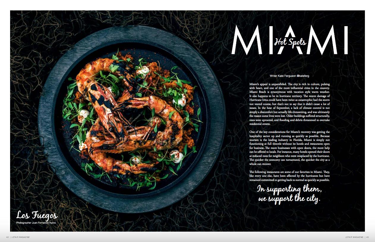 "- ""Miami Hot Spots""Published in LEFAIR Magazine"