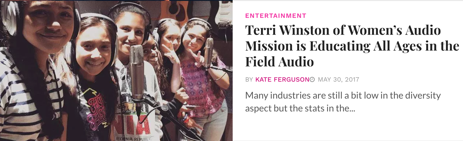 """- """"Terri Winston of Women's Audio Mission is Educating All Ages in the Field Audio""""Published on Inspirer"""