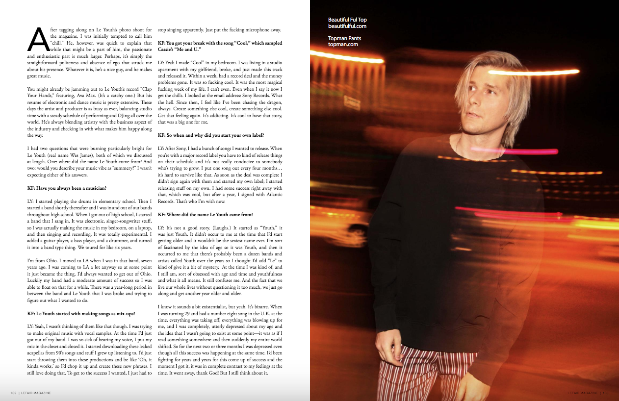 - Interview with musician Le YouthPublished in LEFAIR Magazine
