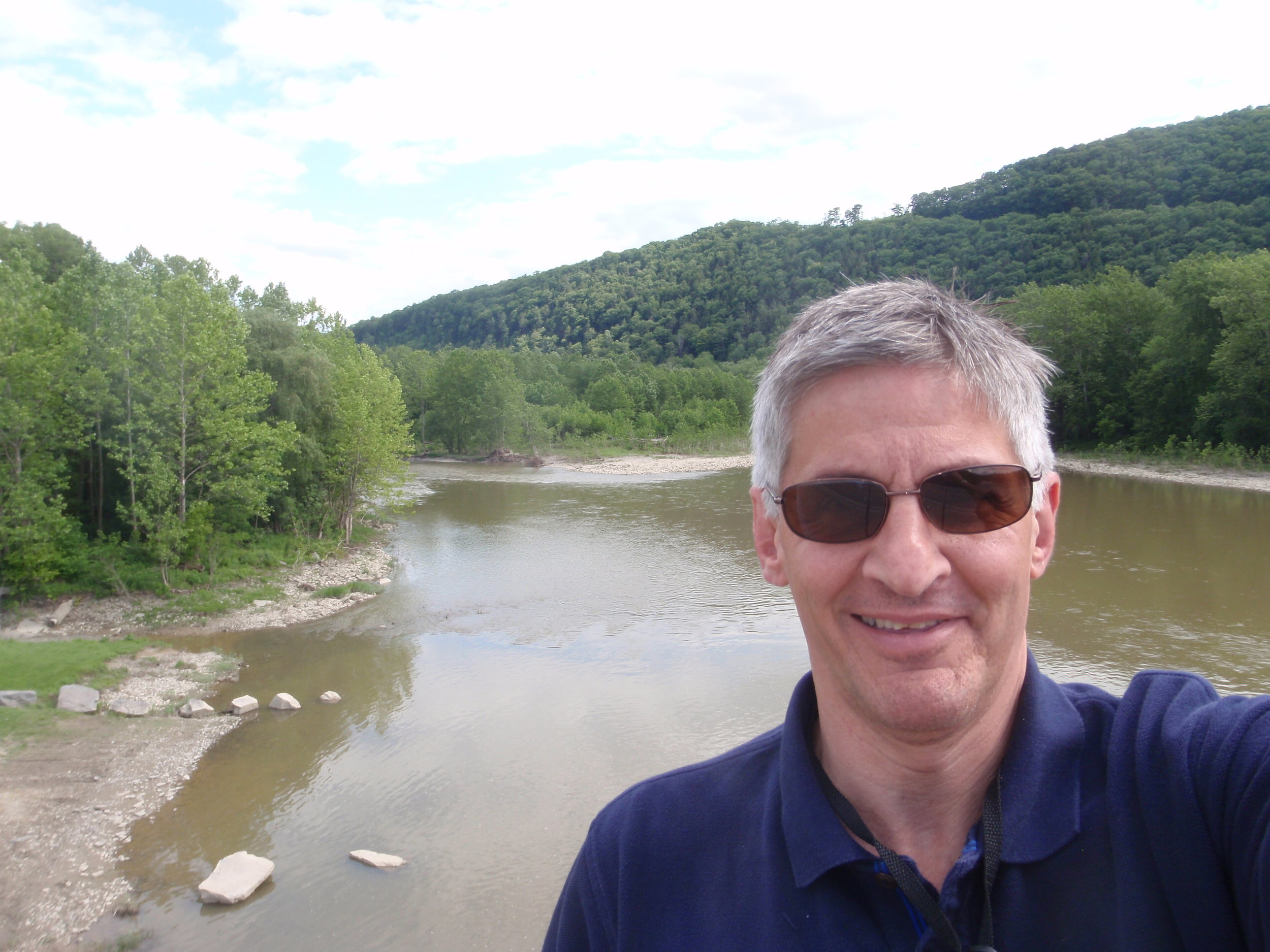 Jim at Fitch's Bridge, Big Flats, looking upriver (east) on the Chemung River