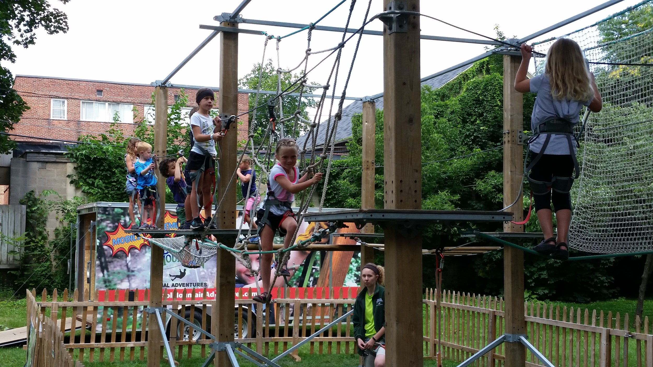 High ropes course (ages 4-12) provided by Bristol Mountain