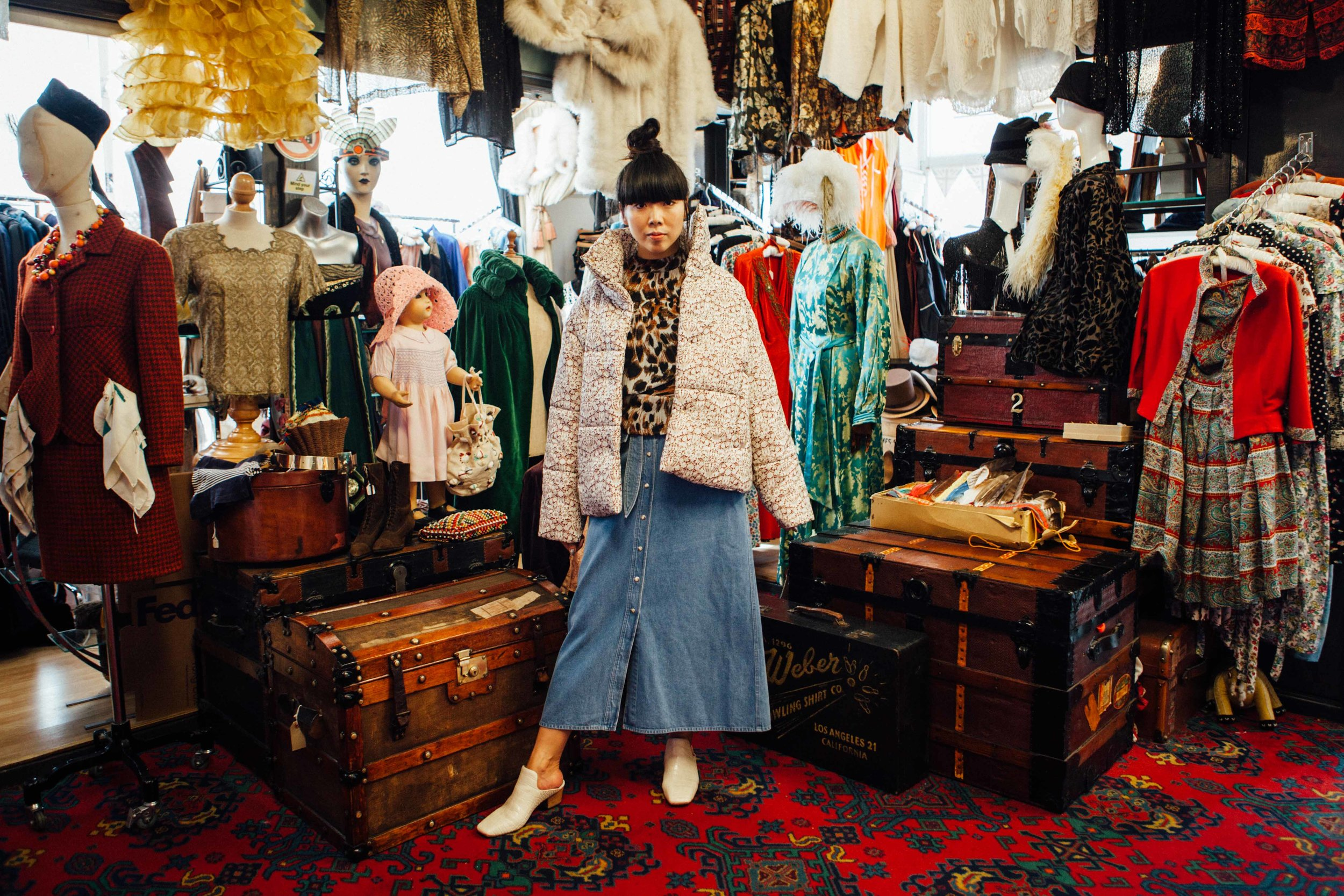 Liberty Hide jacket, Mortimer Burgundy | €565   Alma denim skirt | €295   Payam shoes, creme | €390   Marjan ocelot blouse | €320
