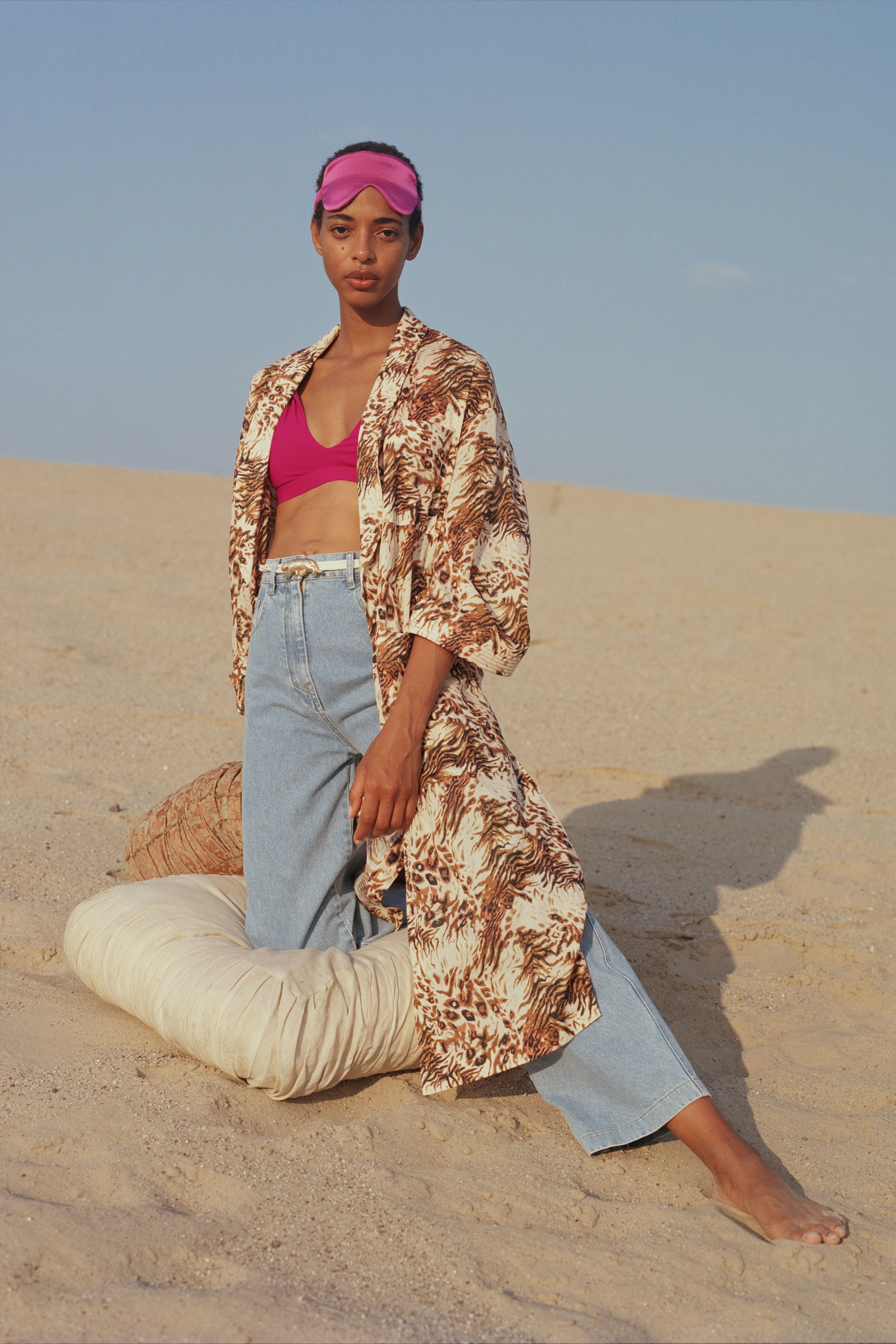 Breeze bikini top, rosebud    €160  Kimo robe, animal douvet    €395  Marfa jeans, 80's wash    €290