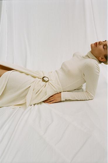 Aura Terry Knit Turtleneck  | €230  Sasha Terry Knit Wrap Skirt  | €270