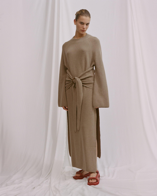 Mahali Tie Front Knit Crewneck Dress  | €380