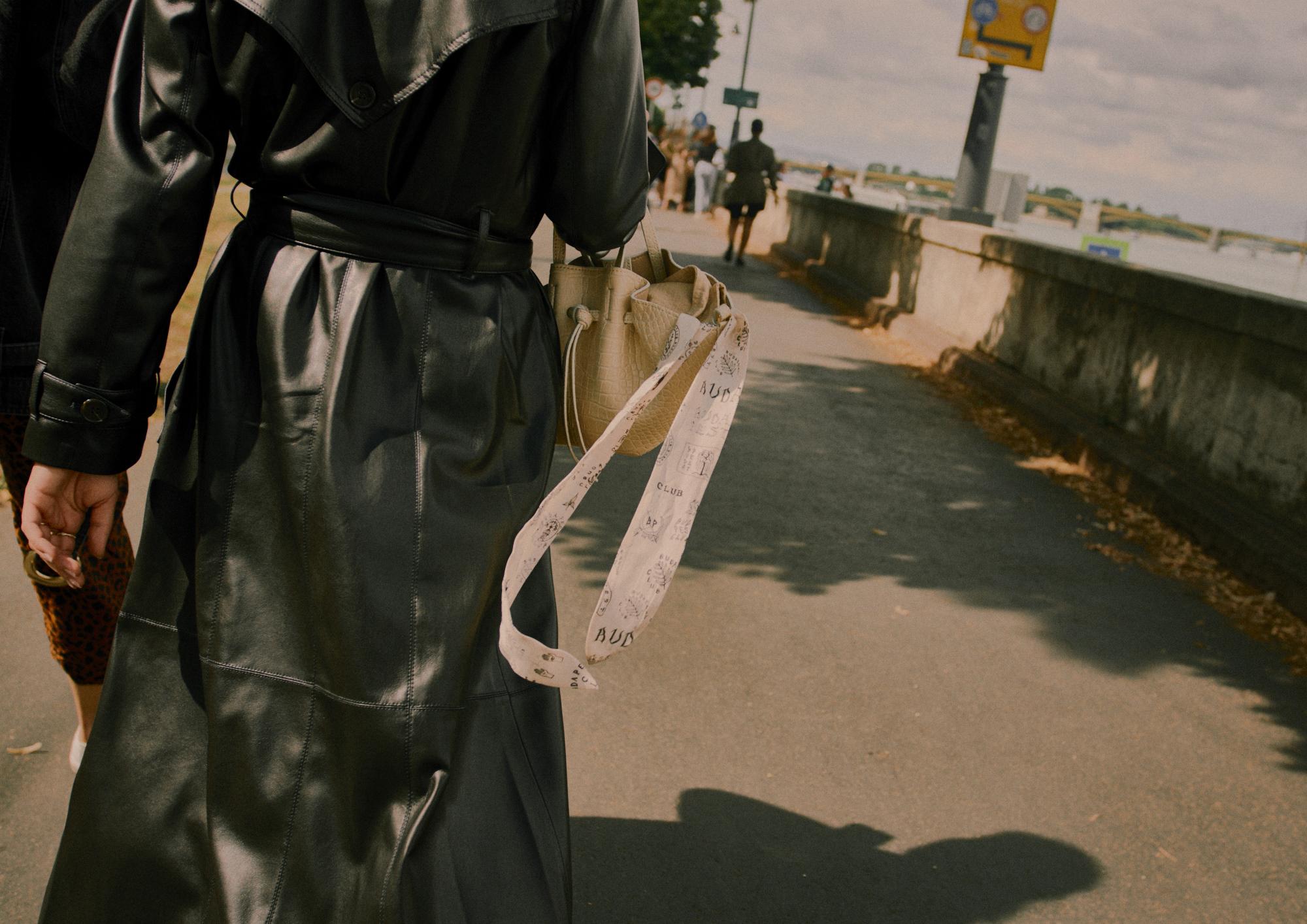 Chiara Vegan Leather Trench Coat | €795   Mini Lynne Shell Bag | €325