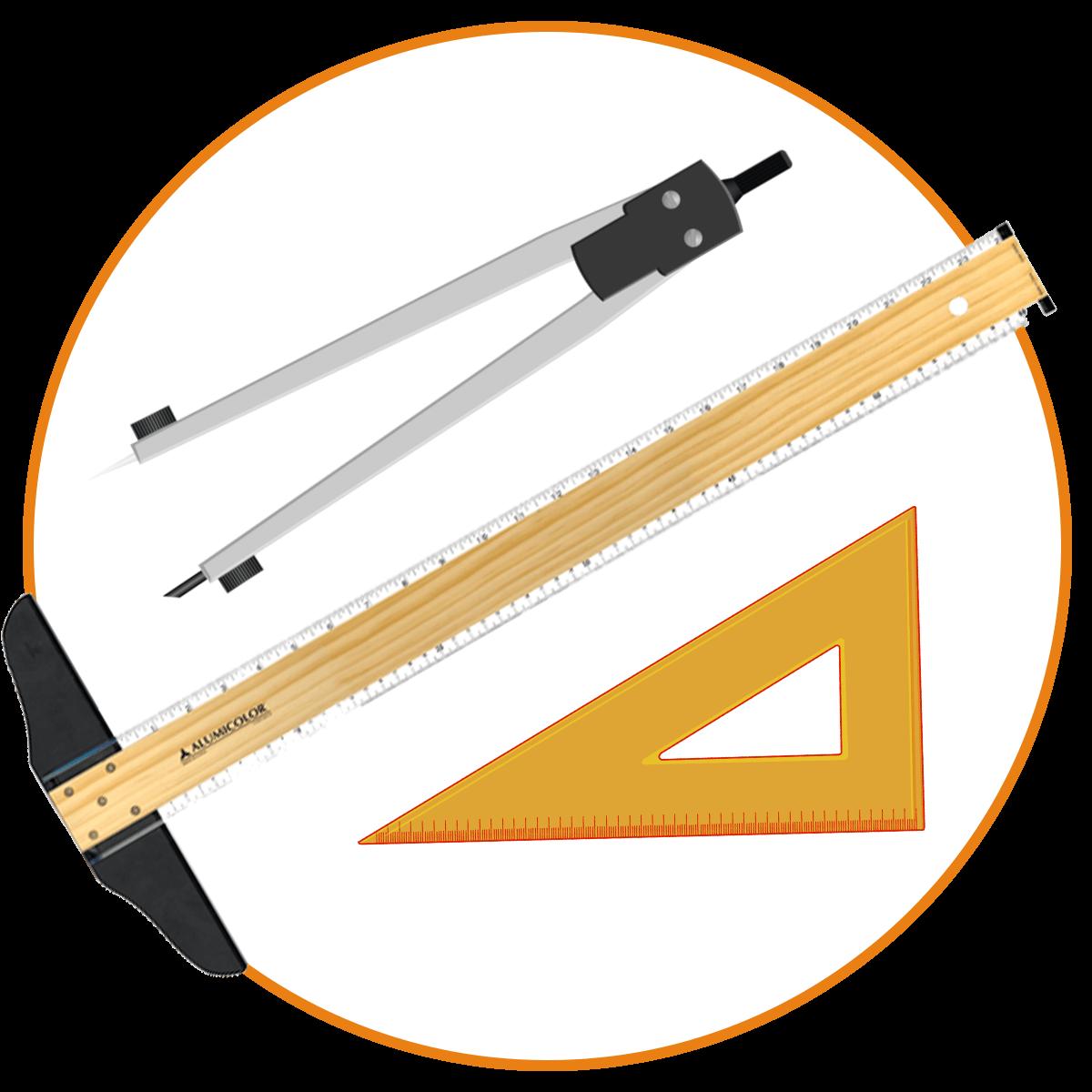 Herramientas - ParalellasT cuadradas de Madera, Metal y PlásticoDrafting Kit SetsCompasesCartabónesTransportadoresSets de Curvas FrancesasCurvas FlexiblesPlantilla de borrar