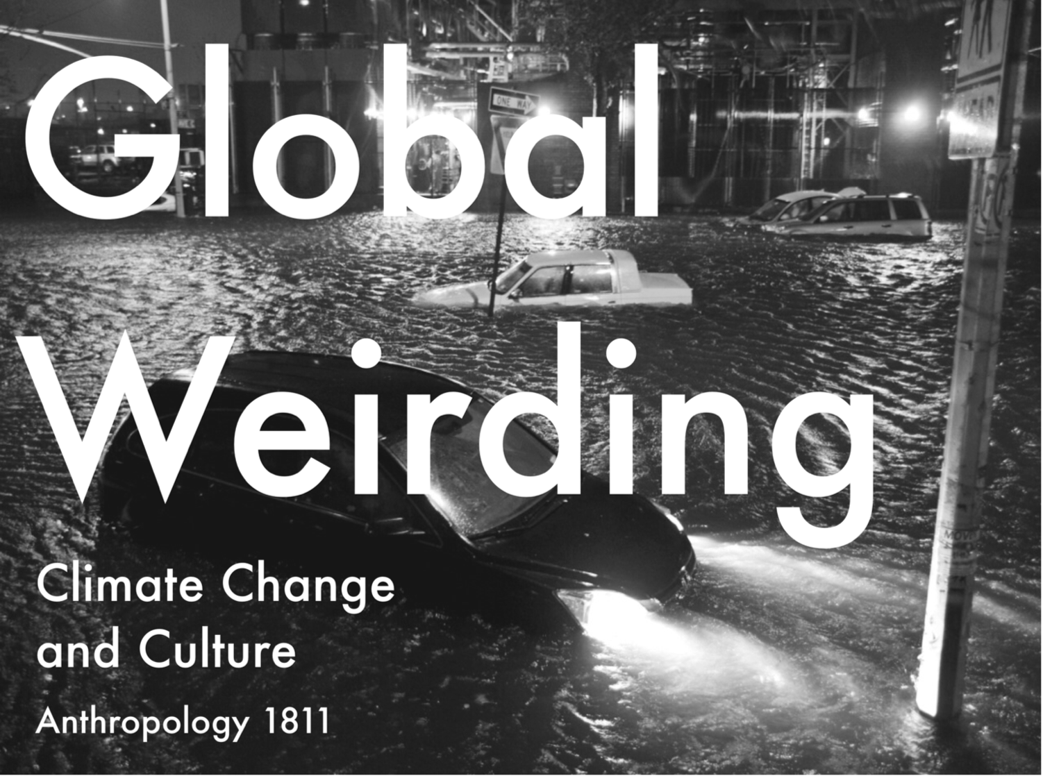 Global Weirding: Climate Change and Culture   Department of Anthropology, Cornell University  Superstorms in New York, floods in the Middle East, rain at the Winter Olympics. Humans used to be subject to the weather, but these days we weird the weather. Yet how do we know what we know about climate change? What are the cultural dimensions of our sense of its reality? In this course, we shall examine the ongoing transformation of climate change from a remote artifact of scientific knowledge into a pervasive imaginary resource of contemporary thinking and religiosity. Readings will range from the ethnographic study of carbon trading to Nathaniel Rich's fictional account of near-future Manhattan reclaimed by the sea. Writing assignments will emphasize the ability to juxtapose scholarly research from history, anthropology, and philosophy with a wide range of non-academic documents like newspapers, political speeches, legal briefings, military intelligence, and corporate literature