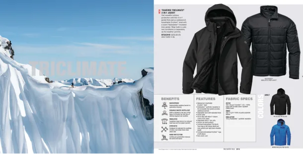 The North Face's 2019 catalogue  is 40 pages, categorized by insulated, rain wear, soft shells, fleece, and bags.  The North Face