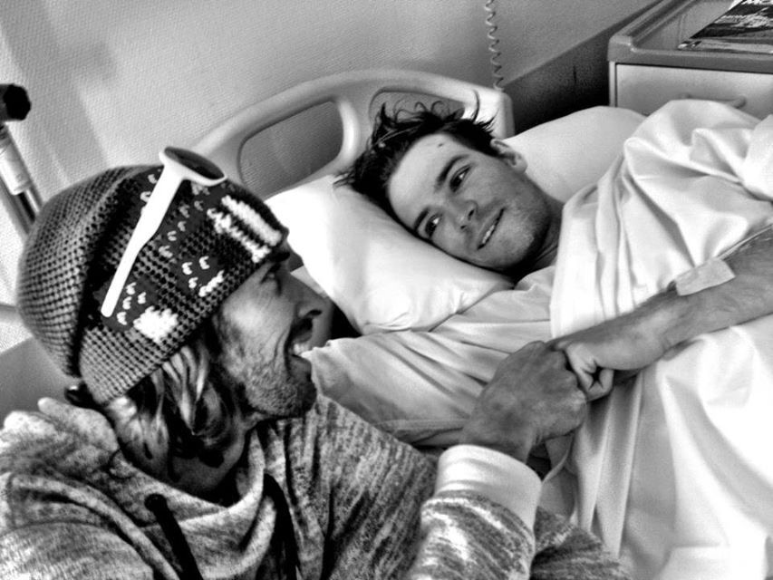 Giraud recovering in the hospital after his accident. Tina Liselius Photo.