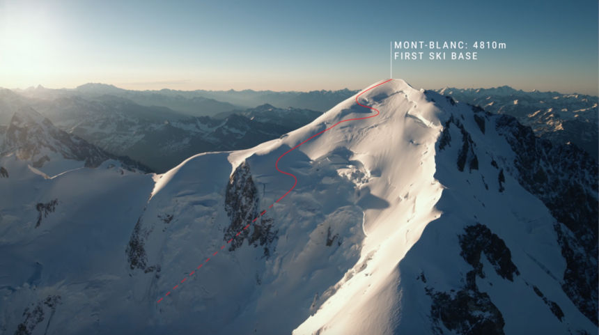 Giraud's line off Mont Blanc.