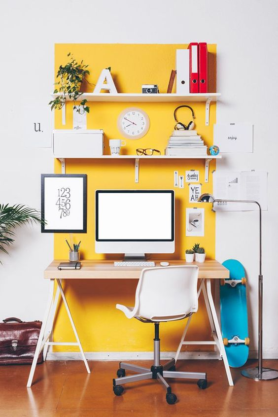 - YELLOW represents emotional strength and optimism so putting a plant in a yellow pot will put a big smile on your face every time you sit at your desk.