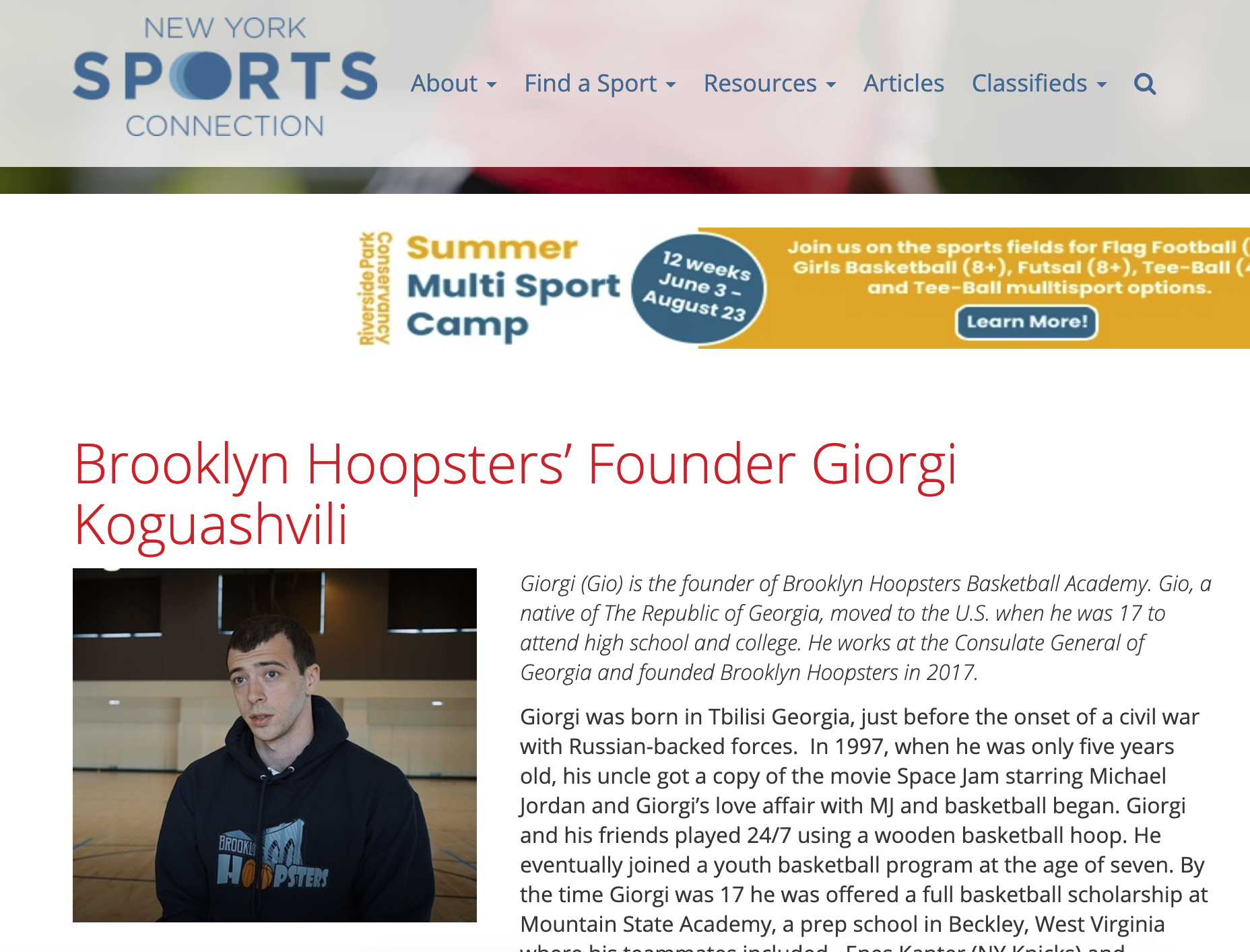 NEW YORK SPORTS CONNECTION - Profile on our founder, Giorgi Koguashvili