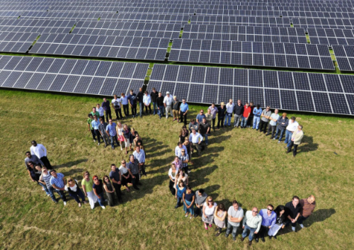 The Solarcentury team at one of the company's first solar park projects in the UK, 2012.
