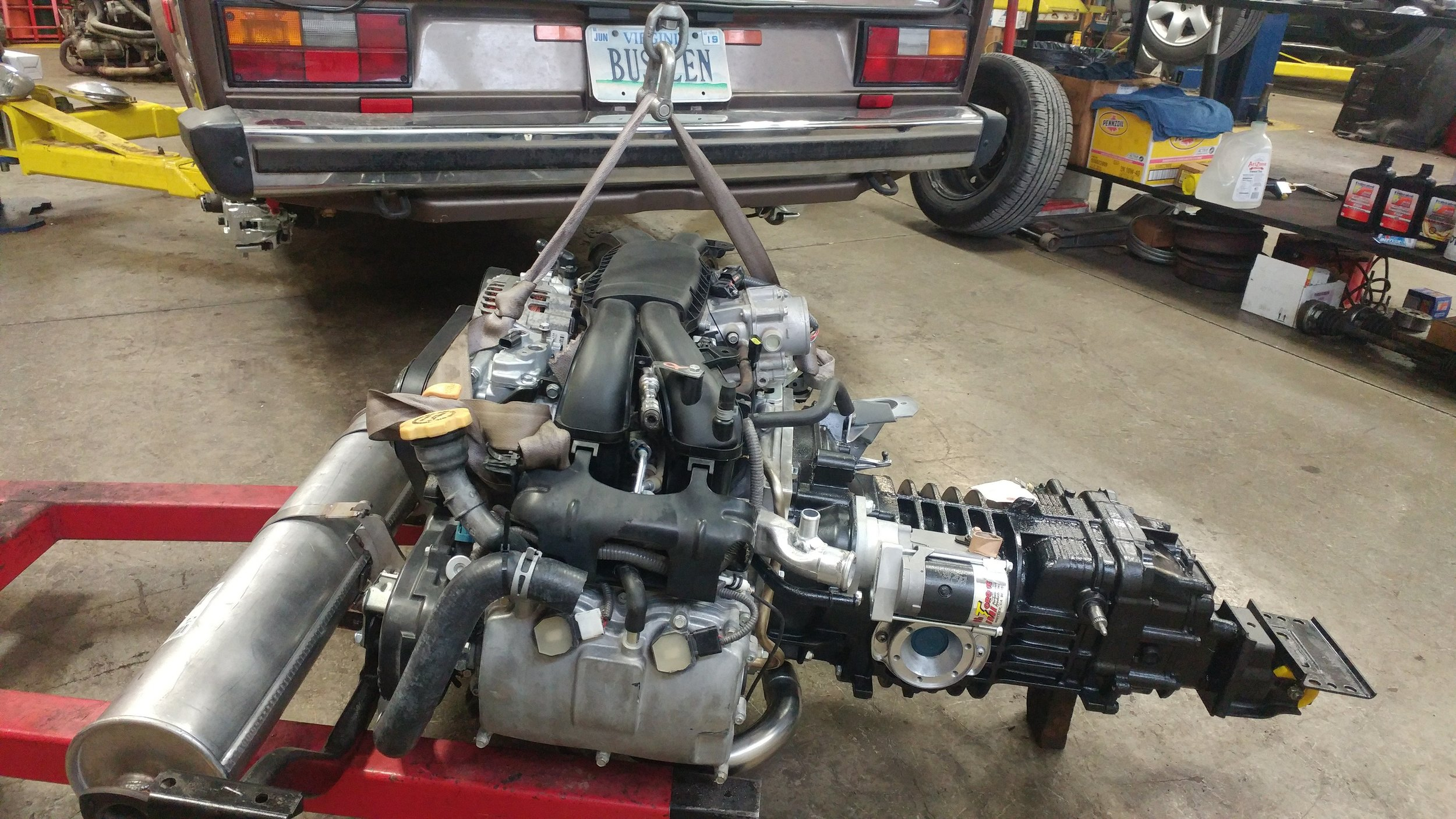 Tom's 40 mile (yes, four-zero) engine mated to his regeared transmission ready to go in.