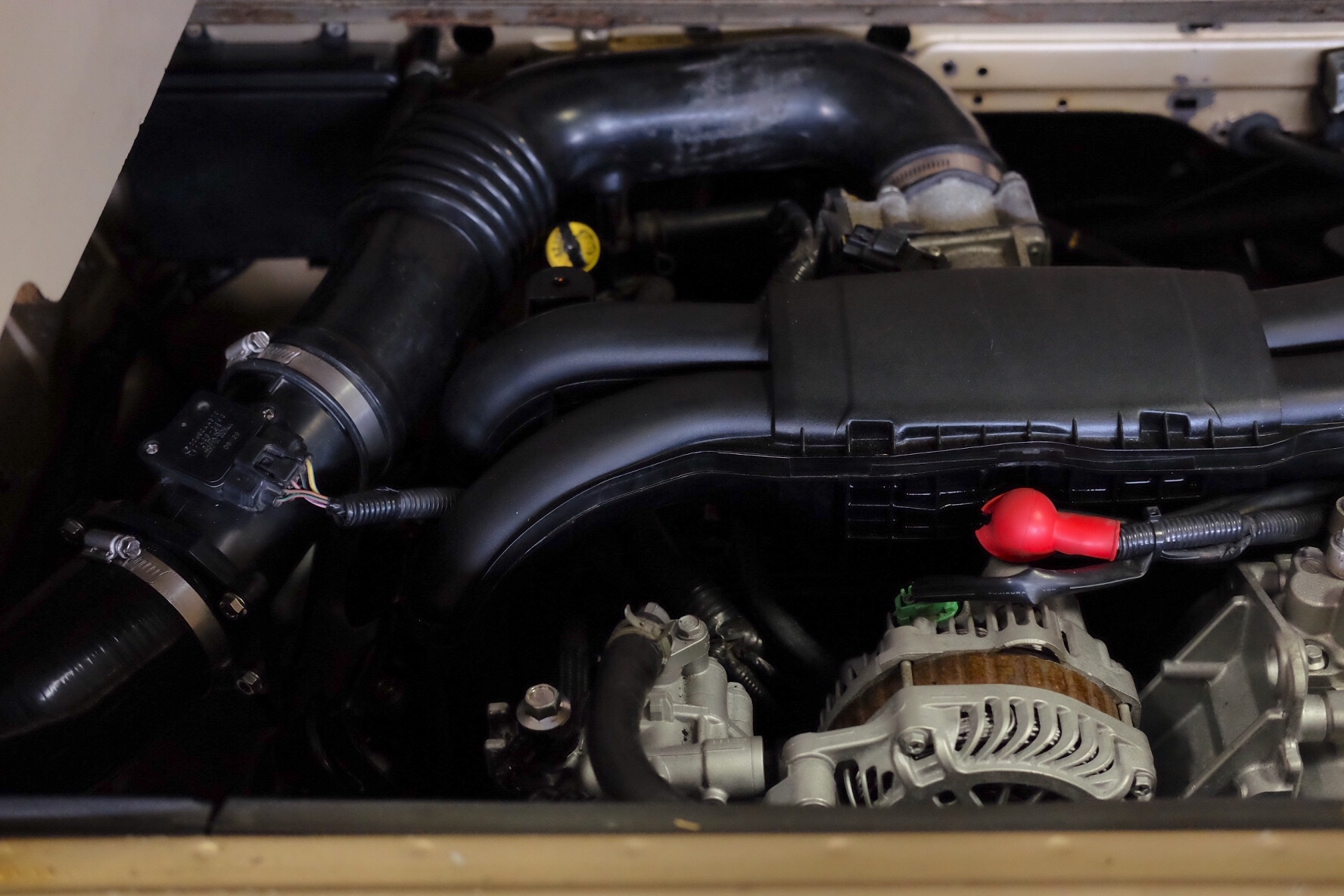 2012 Subaru Legacy EJ25 with Vanaru intake assembly leading to custom air-box