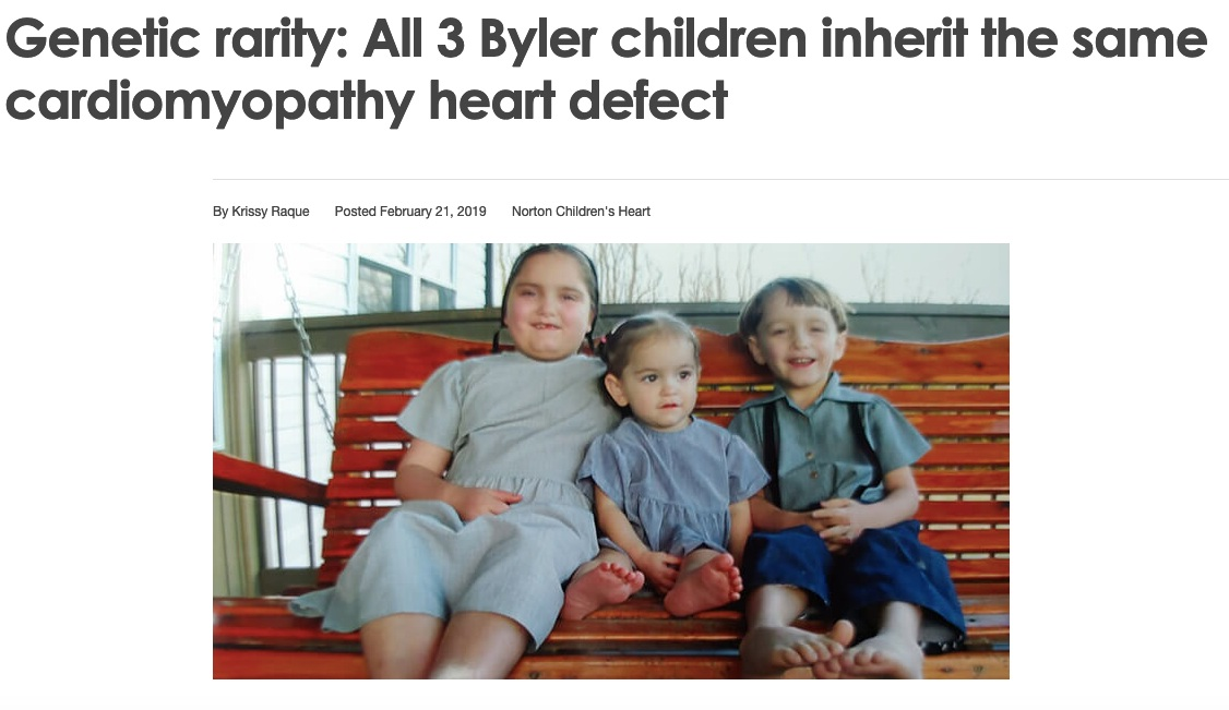 Norton Children's Hospital - Genetic Rarity: All 3 Byler children inherit the same cardiomyopathy heart defect