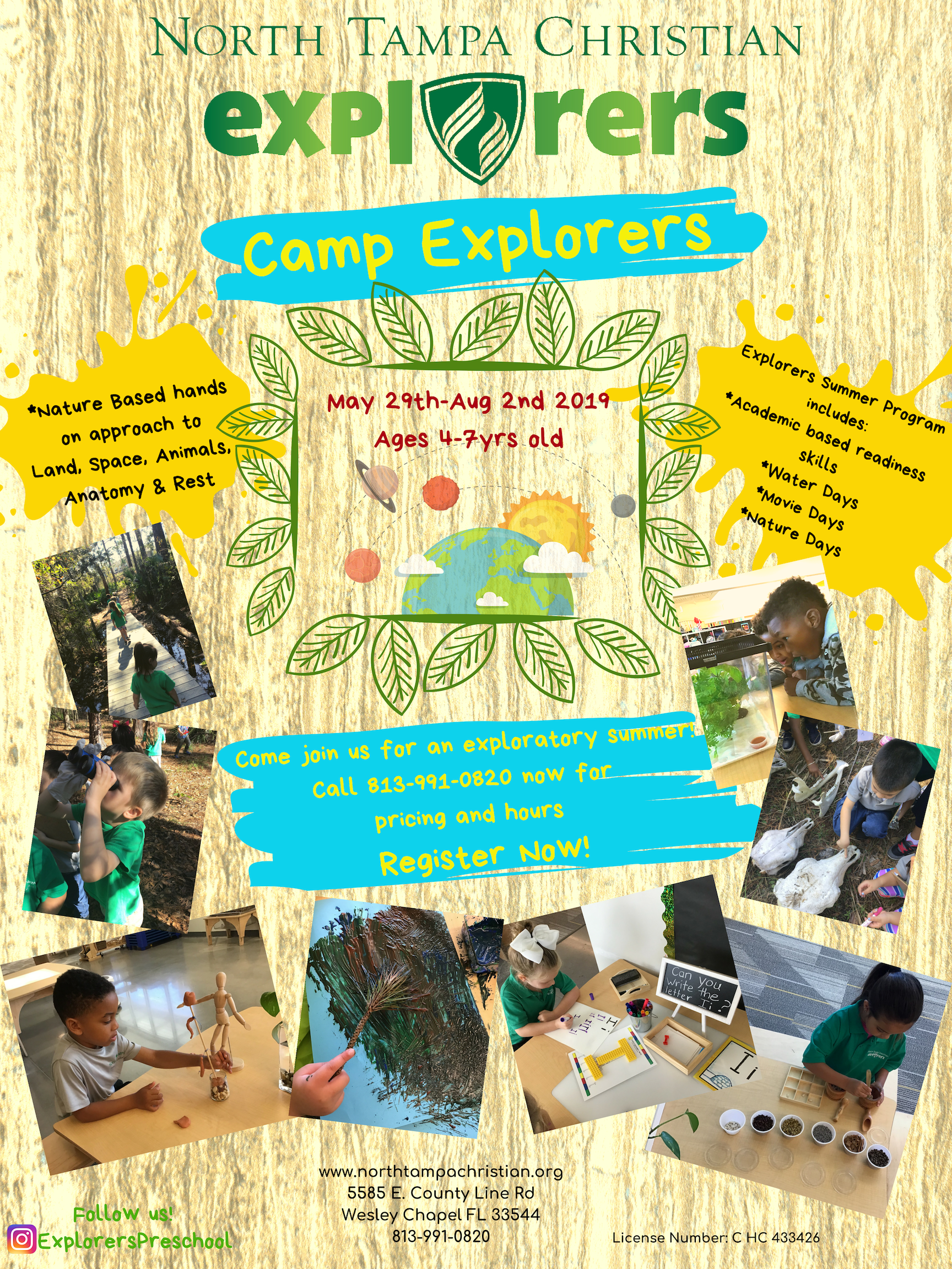 CAMP EXPLORERS  Nature-based Exploratory Camp  Ages 4-7  Call 813-991-0802 or register  HERE   May 29-Aug 2 | $200/week  7:45am-3pm | Extended day available