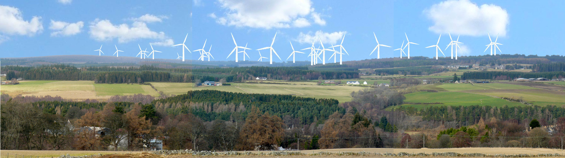 Accurate artists image of the proposed Rothes 3 wind farm, seen from the main A95 near Aberlour, dwarfing Archiestown at top right. That's quite some addition to iconic Speyside?