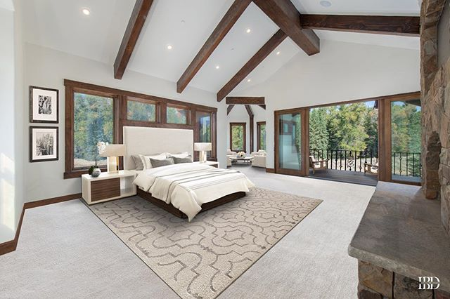 Get cozy by the wood burning fireplace! This light-filled bedroom has stunning views out every window! MLS # 18-2828 Listed by Betsy Bingle Real Estate . . . . . . #JacksonHoleRealEstate #JacksonHole #buyinjacksonhole #sellinjacksonhole #betsybingle #betsybinglerealestate #topproducer #realestateagent #sold #mountainmodern #mountainhome #wyoming #wyomingtaxbenifits #christiesinternationalrealestate #luxuryrealestate #3creek #shootingstarjh #tetonpines #eastjackson #cire  #beforeandafter #beforeandafterhome #homeremodel #homesforsale #luxuryrealestate #luxuryhomesforsaleinJH #soldbybingle