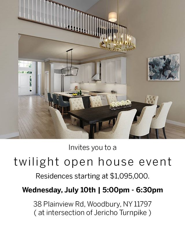 This Wednesday, we'll be hosting a Twilight Open House Event at Long Island's newest luxury development! RSVP to516.596.8411or AGoodman@triequities.com  For more details, visithttps://buff.ly/2F535Kv  #LongIslandRealEstate #LongIsland #Community #Retirement