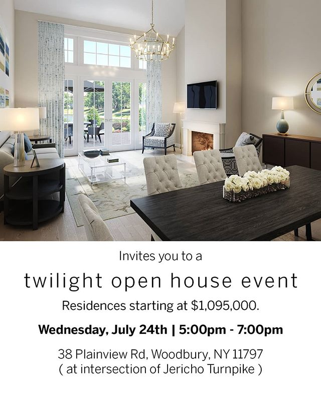 This Wednesday, we'll be hosting a Twilight Open House Event at Long Island's newest luxury development! RSVP to 516.596.8411 or AGoodman@triequities.com For more details, visit www.kensingtonestateswoodbury.com  #LongIslandRealEstate #LongIsland #LI #Community #Retirement #LuxuryLifestyle #LuxuryTownHome #DreamHome #OpenHouse #DanielGaleSIR #SothebysRealty #InstaHome