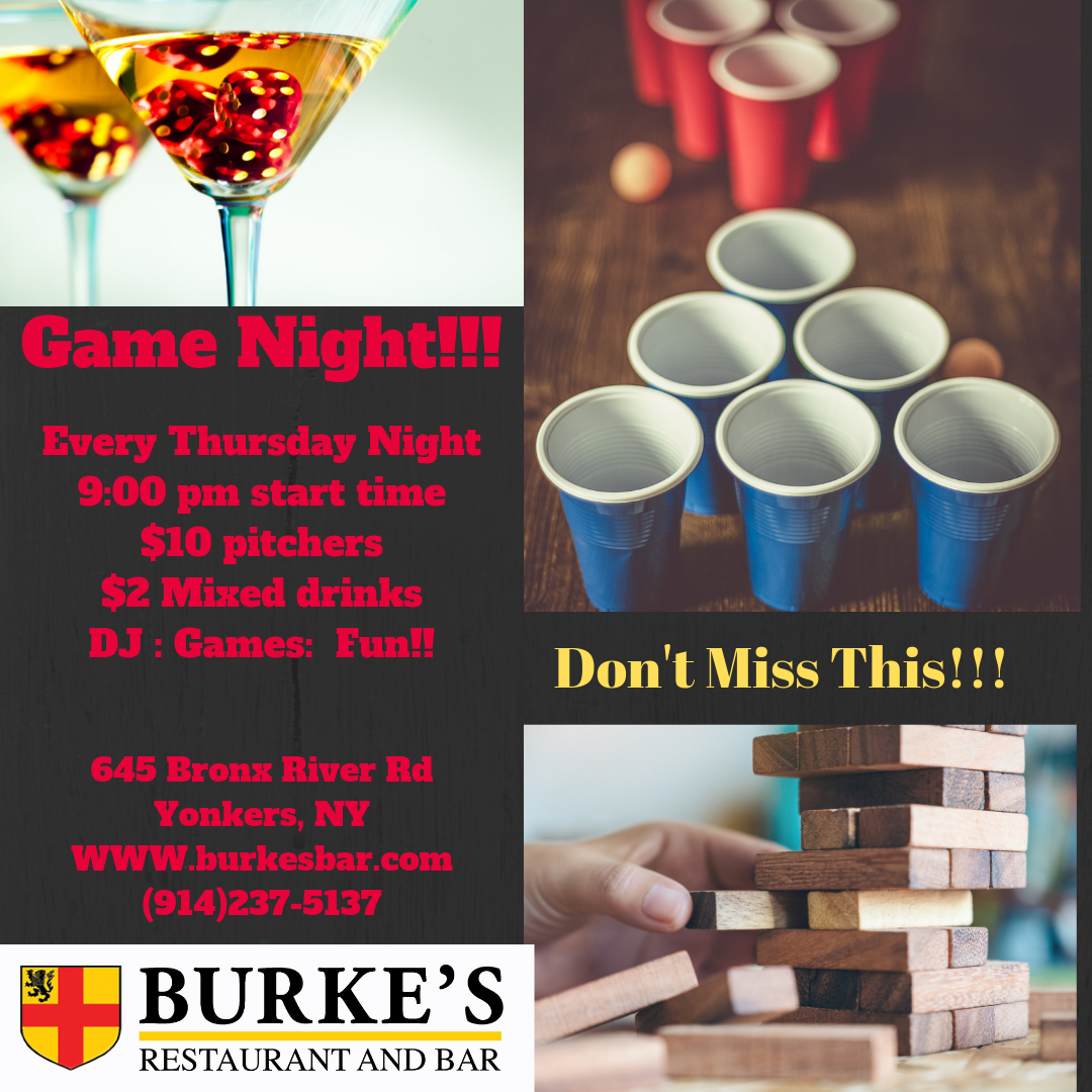 Every Thursday Night starting at 9:00 pm, stop by for fun, games, drink specials and the best staff around!!