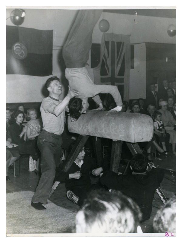 """C17 Gym at Club Display - N.B. """"Health and Safety 60's - Holding legs of the horse!!"""""""