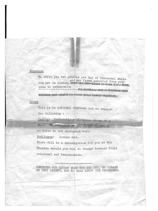 C2004 This is Your Life rehearsal notes  (belonging to Sadie Westbury nee Stern)