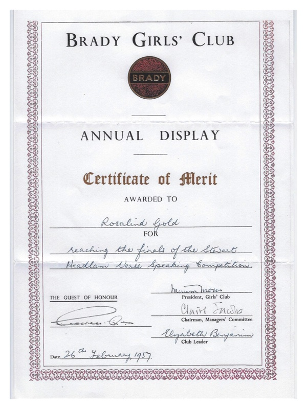 C2015 Brady Girls' Club Certificate of Merit - Rosalind Gold, 1957