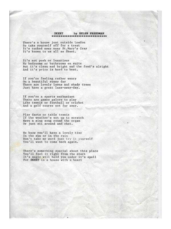 """C2016 """"Skeet"""" Poem by Helen Freedman"""