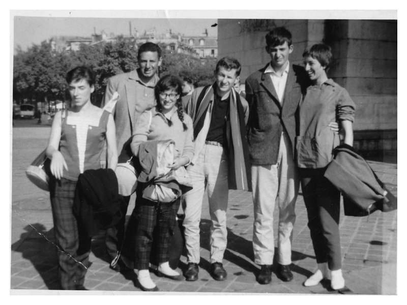 C2029 Paris 1959 - homeward bound from Switzerland: Barbara Burbridge - Sandra McKay - Gloria Rubinstein - Stan Shaffer - Freddy Shaw - Michael Solomons