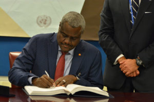 Newly elected chairman of the African Union, Moussa Faki, will preside over a recently enlarged 55-member organization (Control Arms, Flickr)