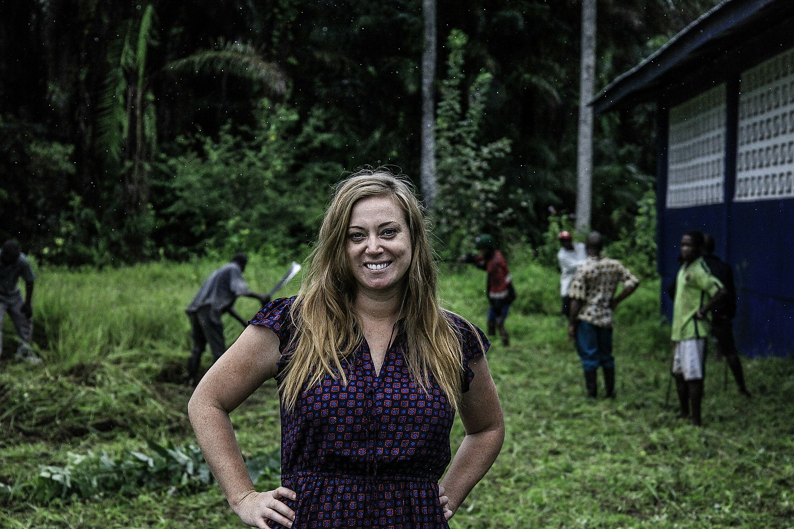 More Than Me founder Katie Meyler poses outside a school in Liberia.