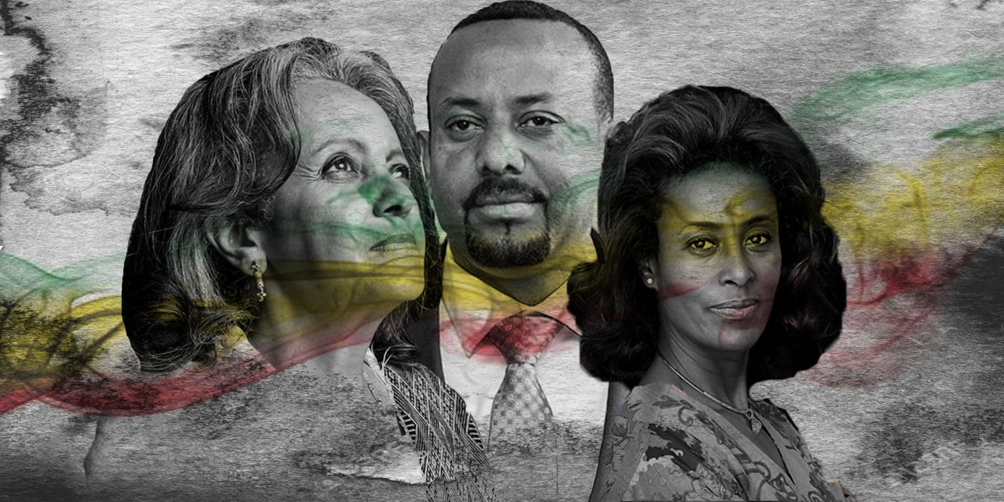Sahle-Work Zewde, President of Ethiopia; Abiy Ahmed, Prime Minister of Ethiopia; and Meaza Ashenafi, President of the Supreme Court of Ethiopia.