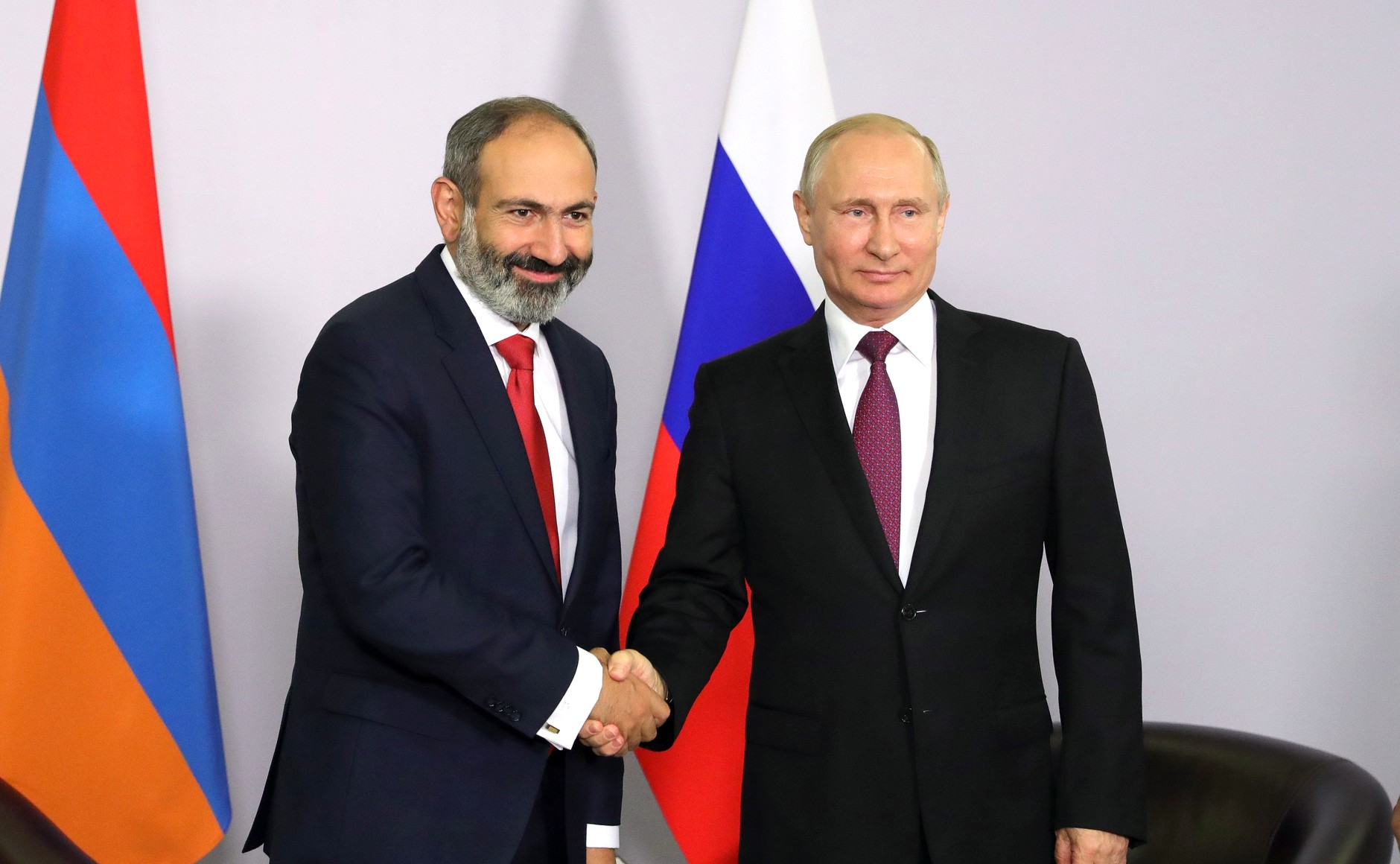 Armenian Prime Minister Nikol Pashinyan pictured meeting with Russian President Vladimir Putin in May 2018 (Wikimedia Commons).