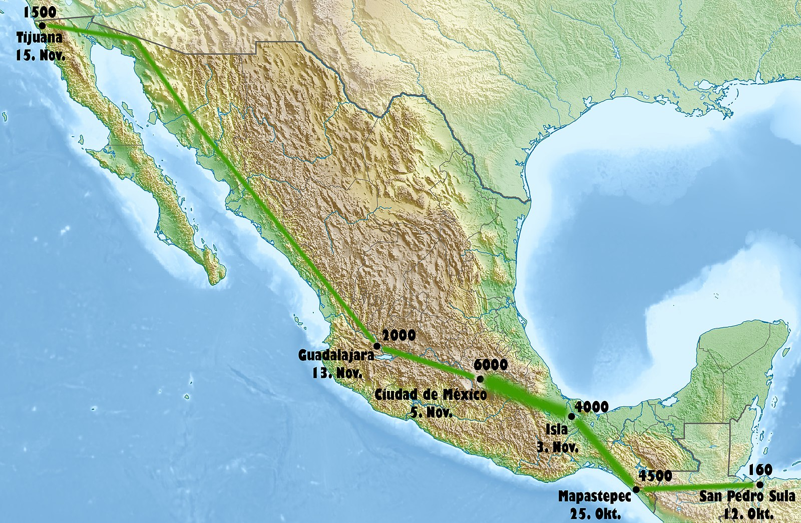 Path of the first major migrant caravan in 2018. (WikiMedia Commons)