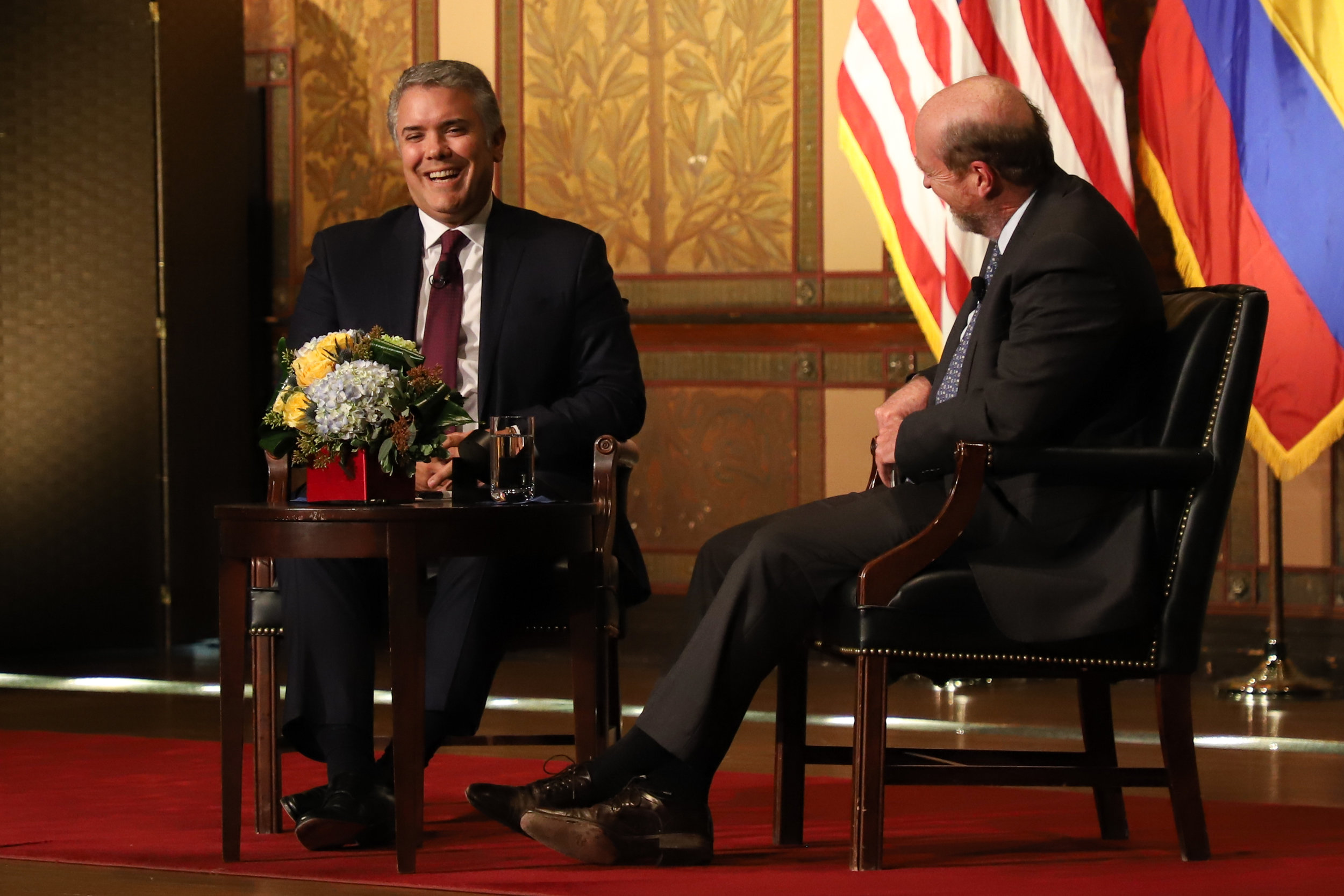Colombian President Iván Duque Márquez (GRD '07) address his Latin American policy agenda in an address in Gaston Hall on February 14. (Bryce Couch, SFS '19)