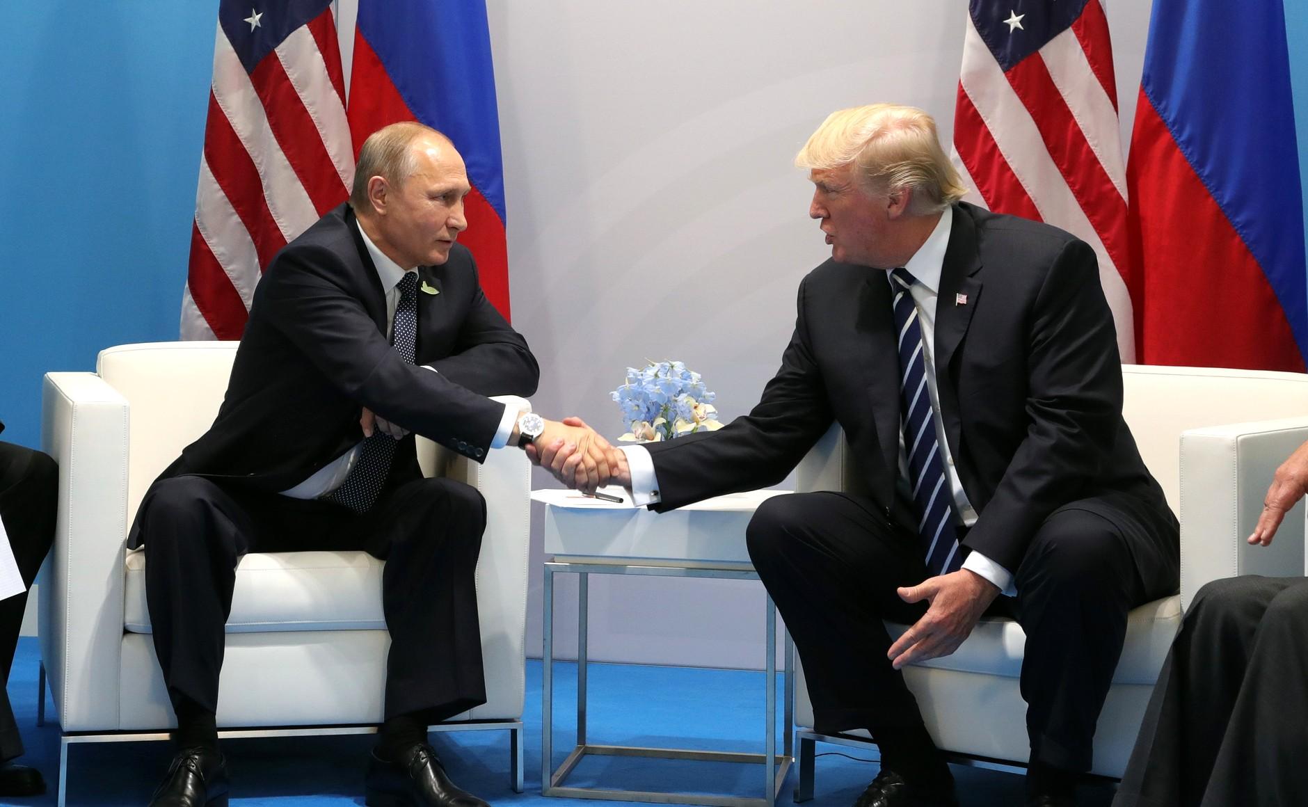 President Donald Trump meets with Russian President Vladimir Putin at the 2017 G20 Summit in Hamburg, Germany. (Wikimedia Commons)