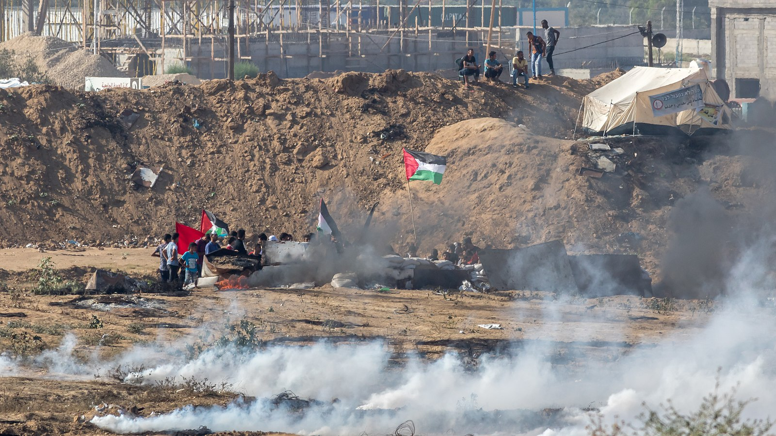 Gazans in the Bureij refugee camp took part in the 2018 Gazan border protests. (Wikimedia Commons)