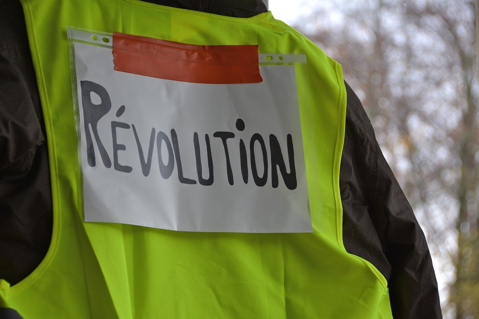 "A Yellow Vest protests carries a ""revolution"" sign taped on the vest. (pixabay)"