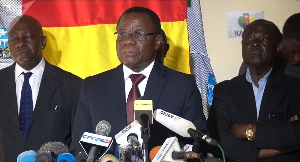 Maurice Kamto speaks at a press conference shortly before his arrest. ( Sputnik News )
