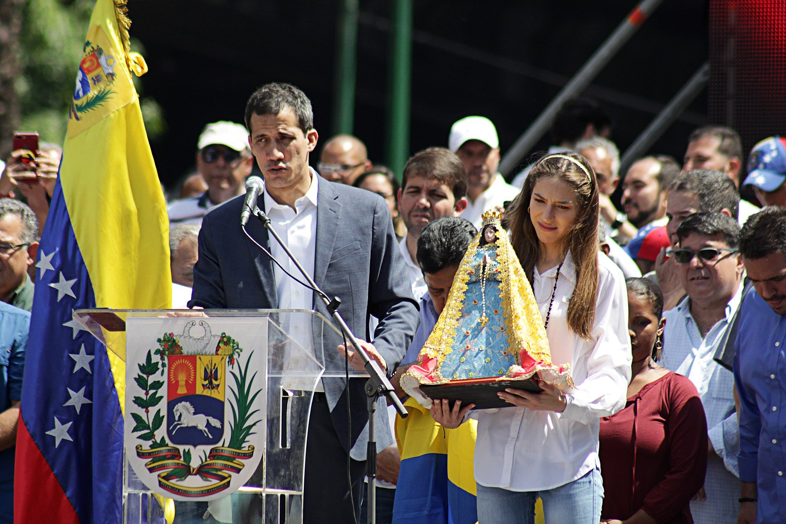 Self-declared interim President of Venezuela Juan Guaidó speaks at an anti-Maduro protest in Caracas in February. (Wikimedia Commons)