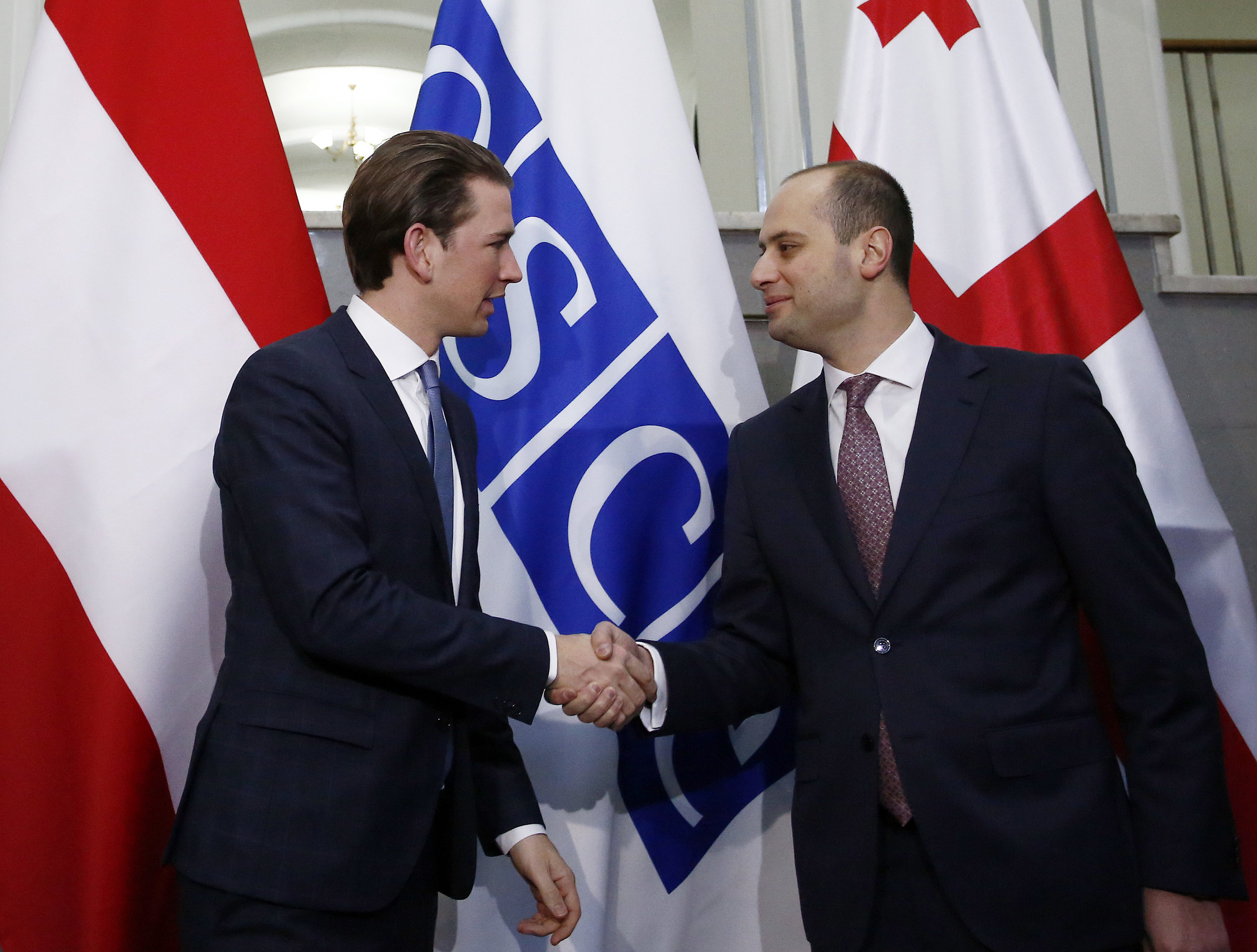 Georgian Foreign Minister Mikheil Janelidze meeting Austrian Chancellor Sebastian Kurz in 2017. (Wikimedia Commons)
