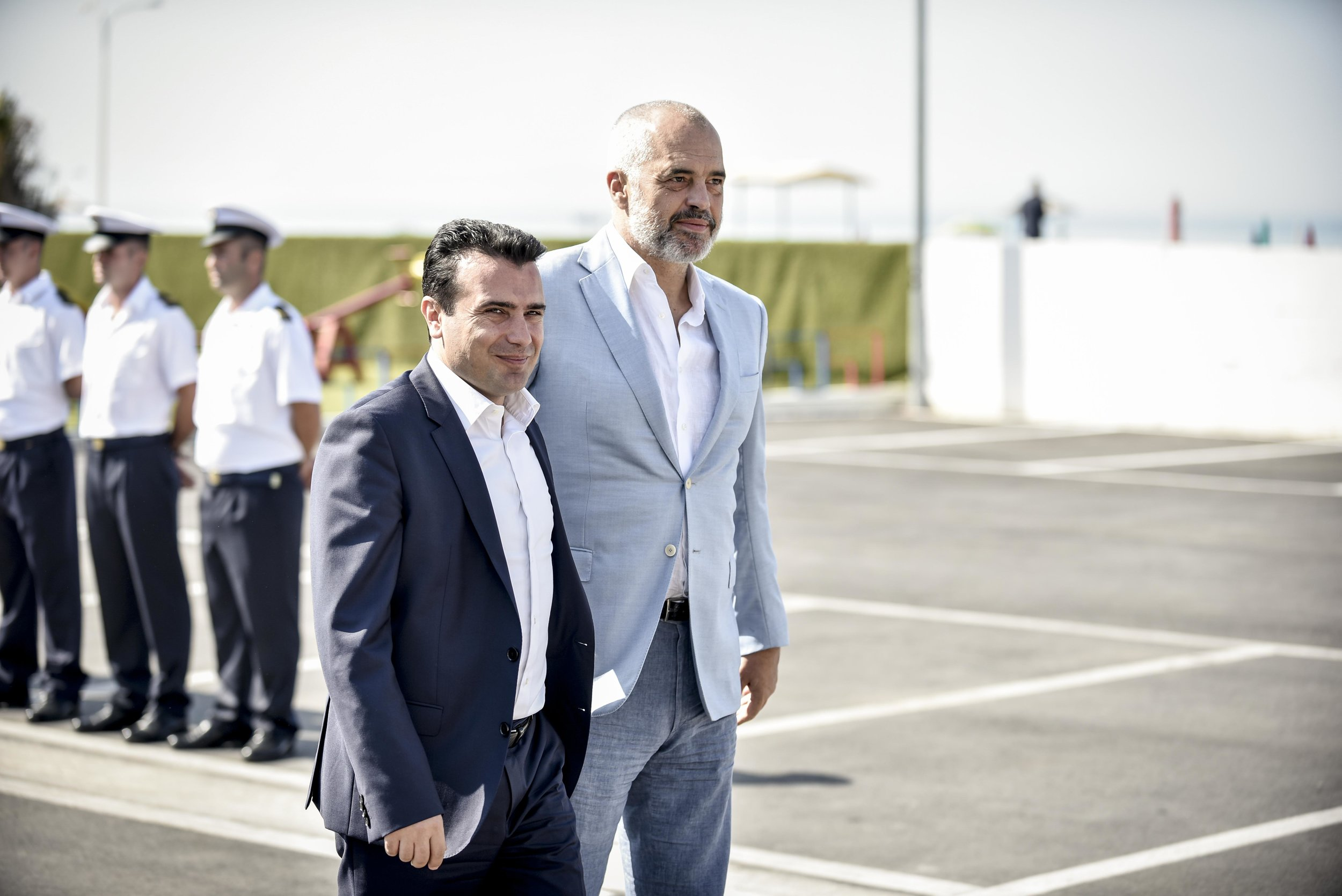 Albanian Prime Minister Edi Rama, right, pictured in 2017 with North Macedonian Prime Minister Zoran Zaev, left, during a meeting of Balkan leaders in Durres, Albania. (Wikimedia Commons)
